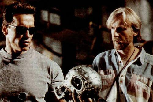 Arnold et James Cameron sur le tournage de Terminator 2